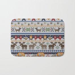 Fair Isle Happy Camper // Winter Wonderland with Woodland Animals Bath Mat
