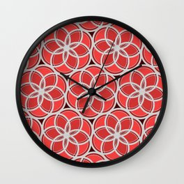 Silver Foil Floral Circles Geometric Nature in Red Wall Clock