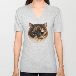 Round Cat - Lang Unisex V-Neck