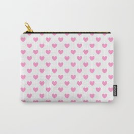 Pink Hearts on White Carry-All Pouch