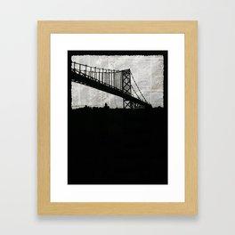 Paper City, Newspaper Bridge Collage Framed Art Print
