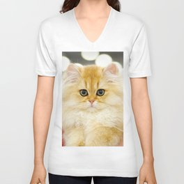 Very young red fluffy cat Unisex V-Neck