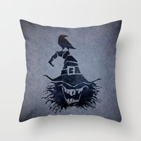 witch Throw Pillows featuring witch by Erdogan Ulker