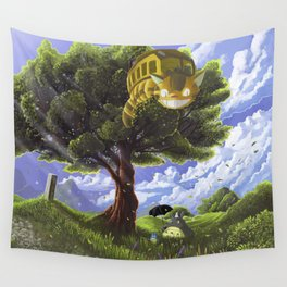Totoro and Catbus Wall Tapestry