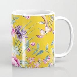 Yellow Chinoiserie Asian Floral Print Coffee Mug