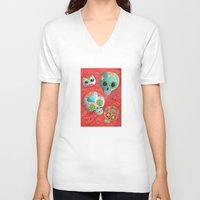 sugar skulls V-neck T-shirts featuring Mexican Sugar Skulls by Madame Colonelle