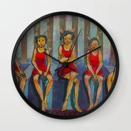Five Little Red Riding Hoods 3 Wall Clock