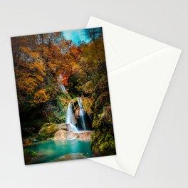 urederra river waterfall, cascada rio urederra navarra , north Spain Stationery Cards