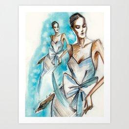 Bridal fashion sketch Art Print