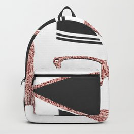 Rose-gold Graduate Hat and Abstract Face Backpack