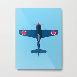 Ki-84 Hayate WWII Aircraft - Blue Metal Print