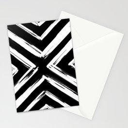Minimalistic Black and White Paint Brush Triangle Diamond Pattern Stationery Cards
