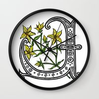 marc johns Wall Clocks featuring St Johns Wort by amyrose