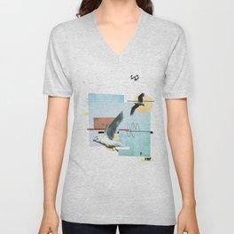 """""""Seagull"""" collage Unisex V-Neck"""