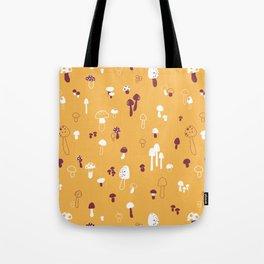 Autumn Mushrooms Mustard Tote Bag
