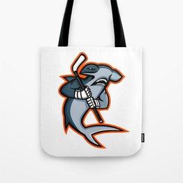 Hammerhead Ice Hockey Player Mascot Tote Bag