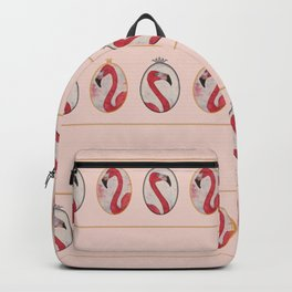 the royal pink flamingo king and queen stripe pattern in vintage pink Backpack