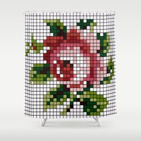 shabby chic Shower Curtains featuring Shabby Chic Rose by Alisa Galitsyna