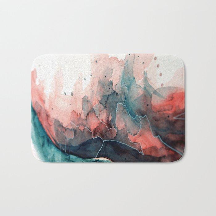 Watercolor dark green & red, abstract texture Bath Mat