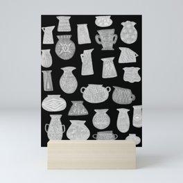 Grey Pottery on Black Mini Art Print