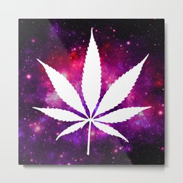 Weed : High Times Fuchsia Pink Purple Galaxy Metal Print
