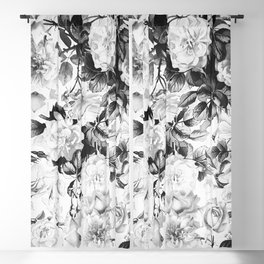 Black gray modern watercolor roses floral pattern Blackout Curtain