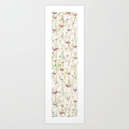 bird surface pattern design - light pastel green (Screen printed) Art Print