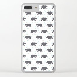Forrest Animal Bear Print Clear iPhone Case