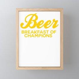 Beer Breakfast of Champions t-shirt vintage inspired Funny T-Shirt Framed Mini Art Print