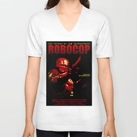 robocop V-neck T-shirts featuring Robocop - Alternative poster by Lorenzo Imperato