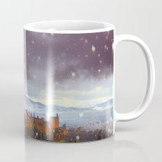 Snowstorm over the Alhambra Palace. Granada at sunset Mug