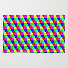 Geometric hexagons red yellow green blue pink Rug