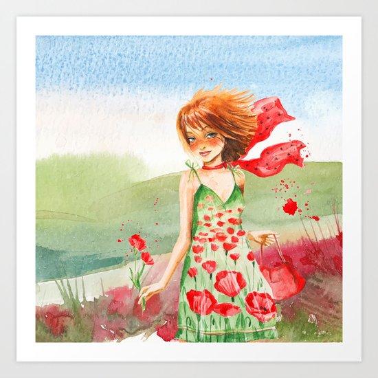 Poppy Girl in Poppies Summer Field Art Print