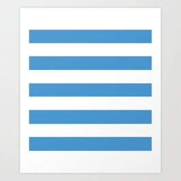Celestial blue - solid color - white stripes pattern Art Print