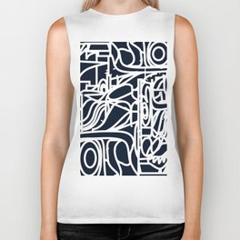 Stained Glass Pattern Black and White Biker Tank