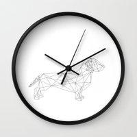 dachshund Wall Clocks featuring Dachshund by Studio Caro-lines