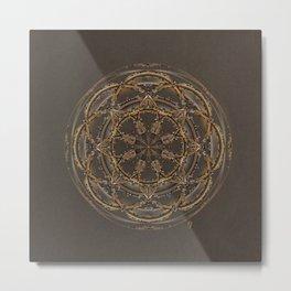 Copper, Siver, and Gold Mandala Metal Print