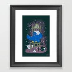 Rain At Owl's Tea Party Framed Art Print