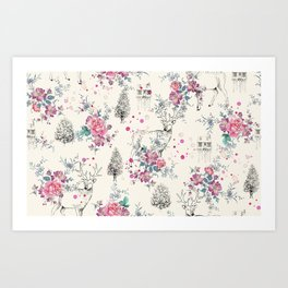Deer pattern Art Print