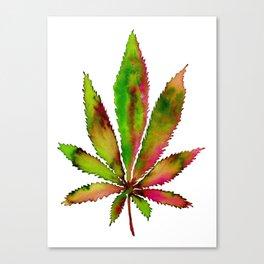 Watercolor Weed Leaf Canvas Print