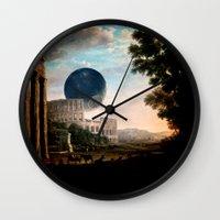death star Wall Clocks featuring Death Star by DIVIDUS