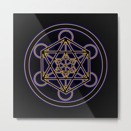 Metatron Blue Gold Metal Print