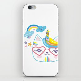 caticorn unicorn crazy cat lady unicat gift kawaii tee shirt iPhone Skin