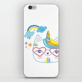 caticorn unicorn crazy cat lady unicat gift kawaii tee shirt iPhone Skin