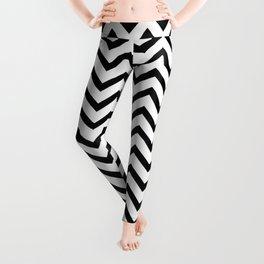 Black and white horizontal stripes monochrome pattern Leggings