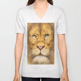 Regal Lion Drawing Unisex V-Neck