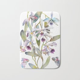 Cattleya Orchid White and Purple with Goldfish Muted Pallet Botanical Design Bath Mat