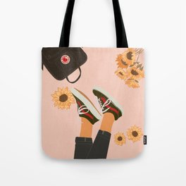 Dreamer and Sunflowers Tote Bag