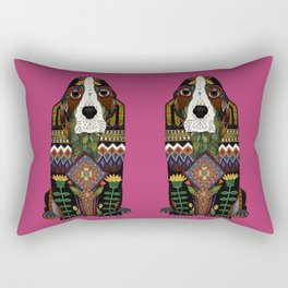 Basset Hound fuchsia pink Rectangular Pillow