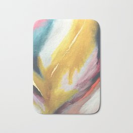 Ambition: a colorful abstract piece in bold yellow, blue, pink, red, and gold Bath Mat